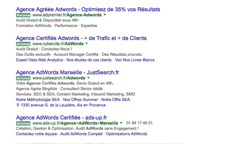 referencement naturel position adwords. Agence internet marseille les resoteurs